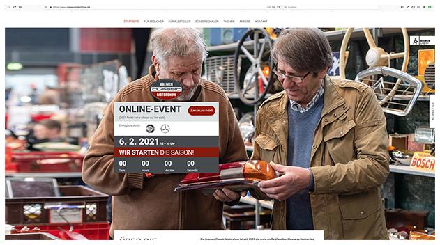 Screenshot vom Online-Event der Bremen Classic Motorshow/M3B GmbH